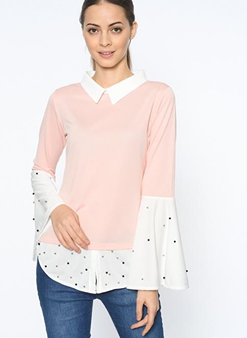 Dewberry Puantiyeli Uzun Kollu Gömlek Pembe